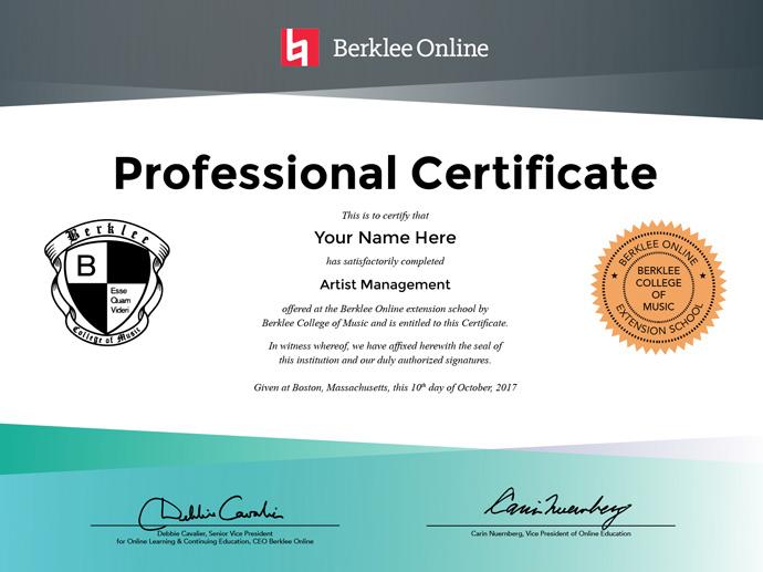 Artist Management Professional Certificate Berklee Online