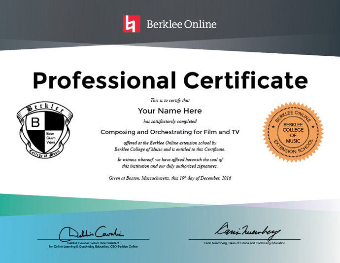 Composing And Orchestrating For Film And Tv Professional Certificate
