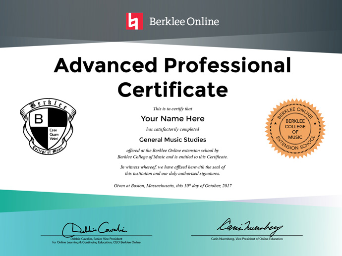 general music studies advanced professional certificate berklee online