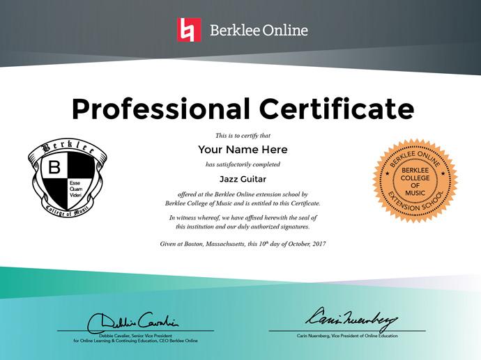 Jazz Guitar Professional Certificate Berklee Online