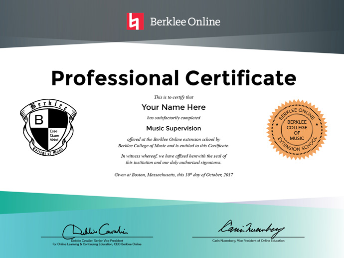 Certificate | Music Supervision Professional Certificate Berklee Online