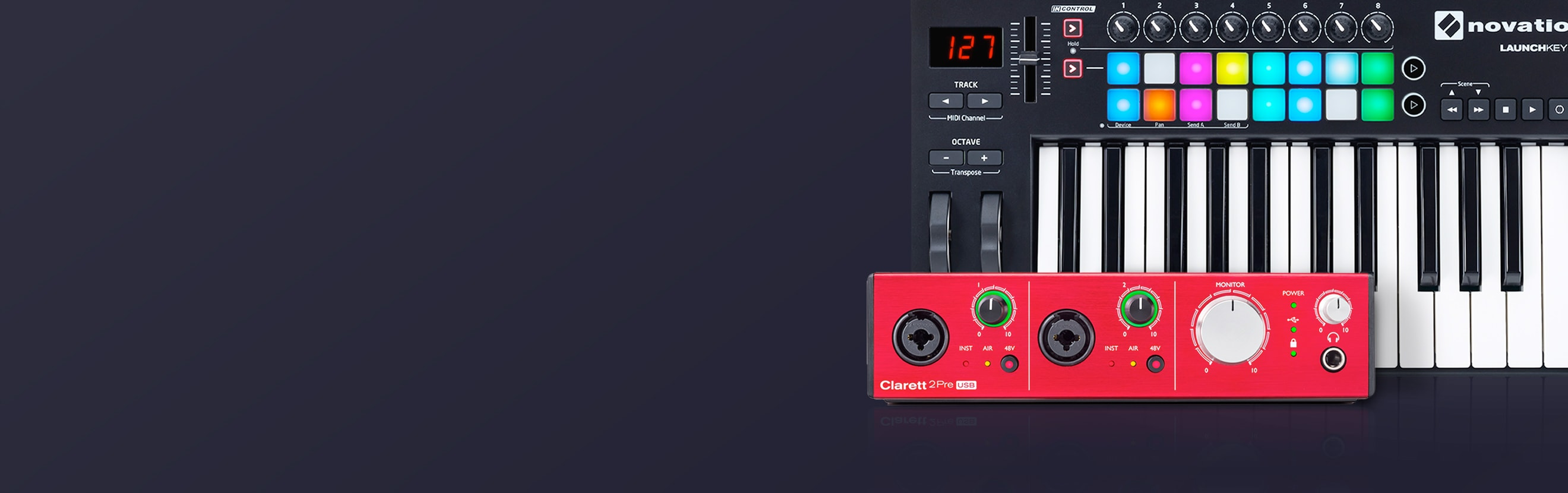 Focusrite and Novation background